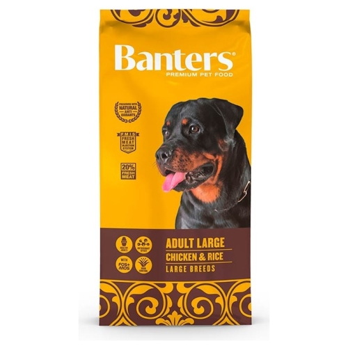 Banters dog adult large breed chicken y rice 15 kg